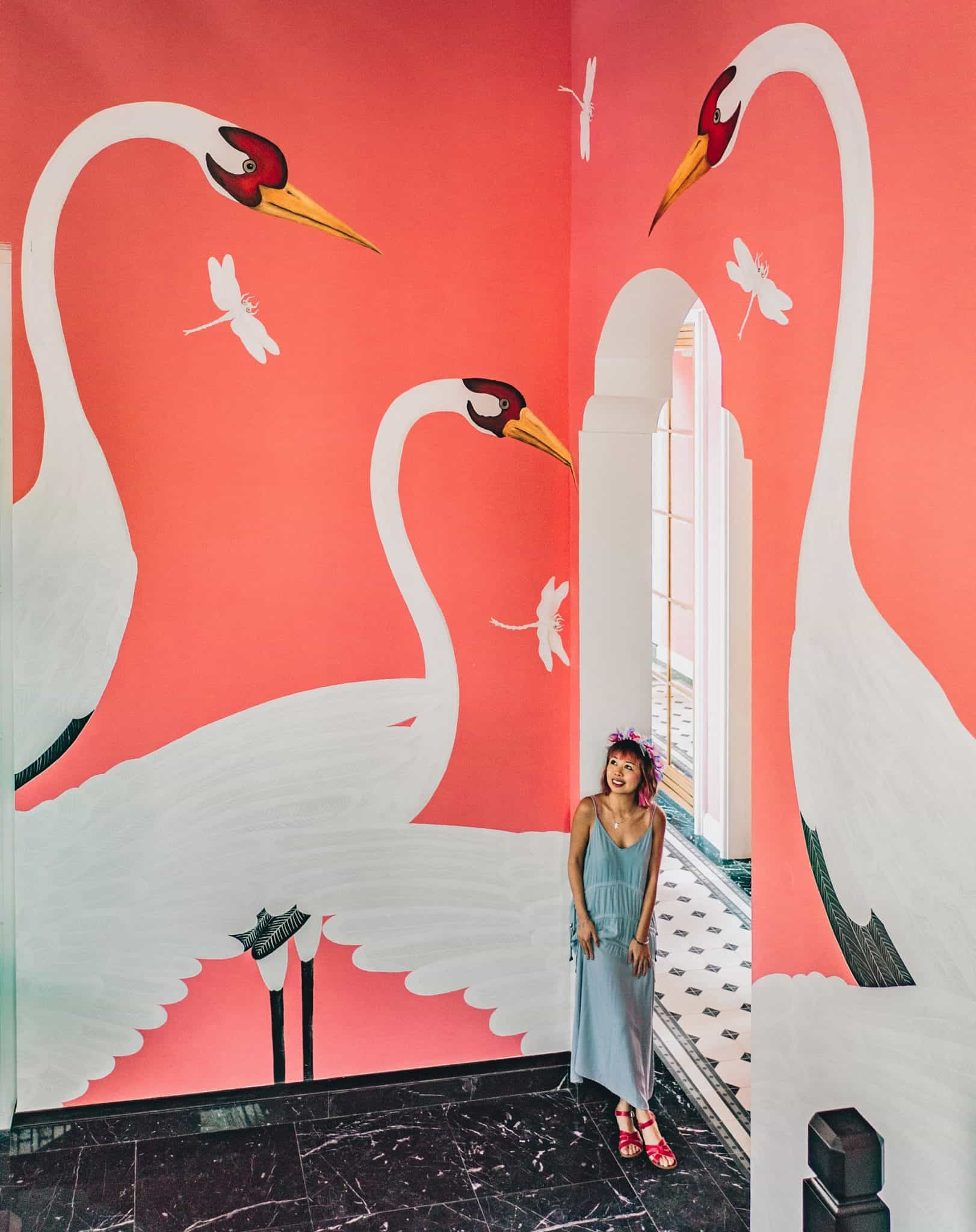 pink flamingo wall